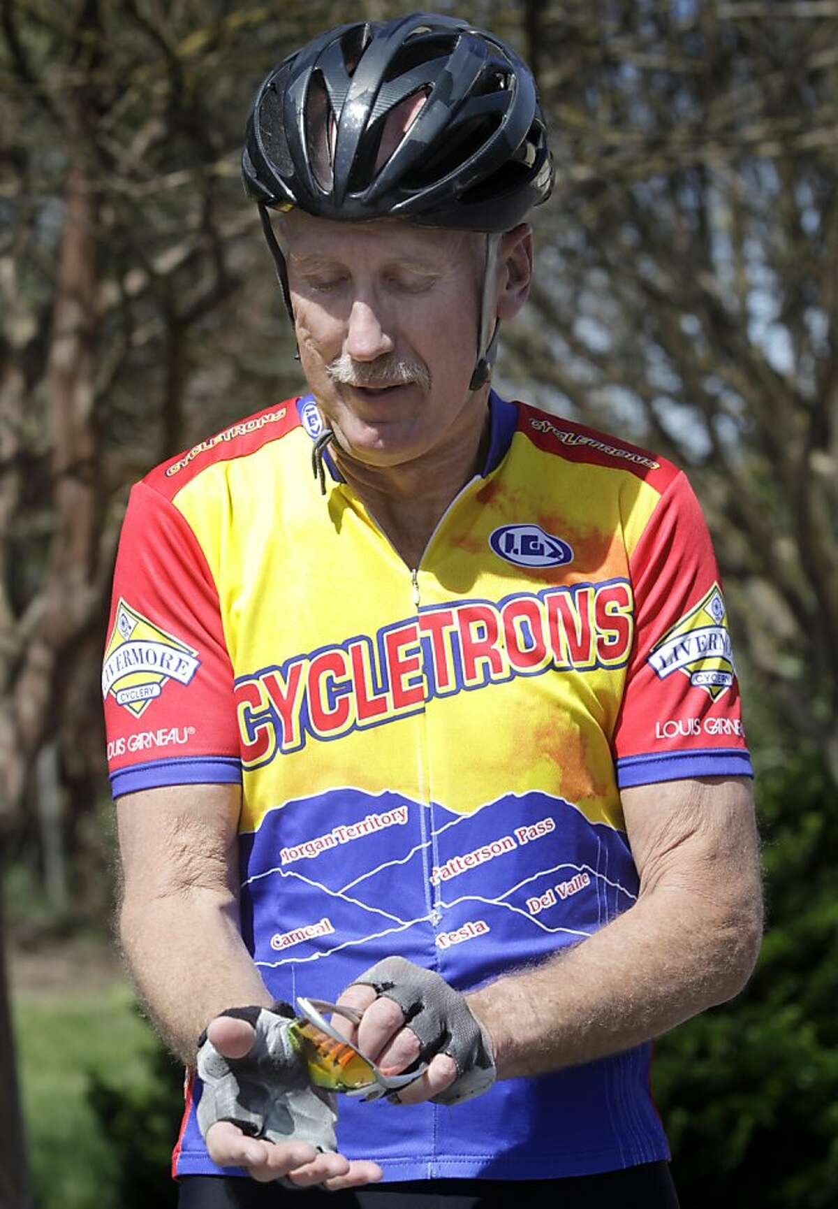 Dave Dye prepares for his daily 20-mile bike ride in French Camp, Calif. on Saturday, March 23, 2013.