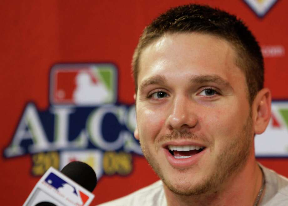 Tampa Bay Rays pitcher Scott Kazmir answers questions during a press conference before the team's practice for Game 5 of the American League baseball championship series against the Boston Red Sox in Boston, Wednesday, Oct. 15, 2008. Kazmir is scheduled to start Game 5. Tampa Bay leads the best-of-seven series 3-1 games. (AP Photo/Chris O'Meara) Photo: Chris O'Meara, STF / AP