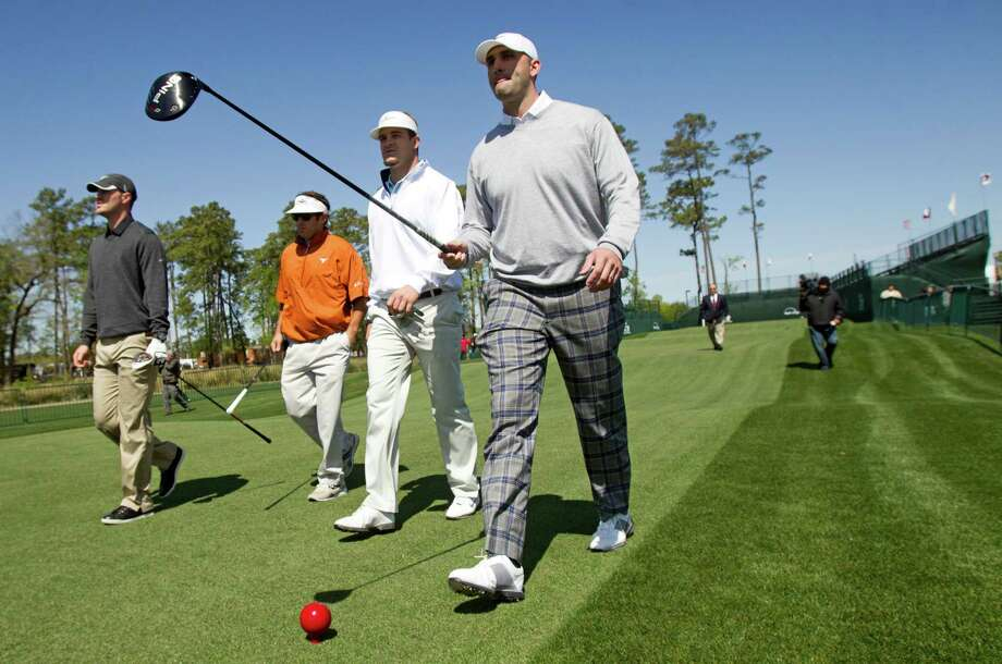 The Texans were well-represented in Monday's pro-am, with quarterback T.J. Yates, left, tight end Phillip Supernaw, second from left, and quarterback Matt Schaub, right, joining pro Will Claxton in the event. Photo: Brett Coomer, Staff / © 2013 Houston Chronicle