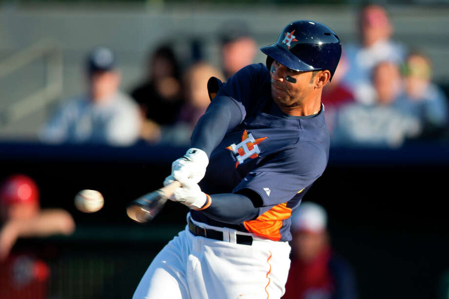Carlos Pena of the Astros bats during the first inning. Photo: Evan Vucci