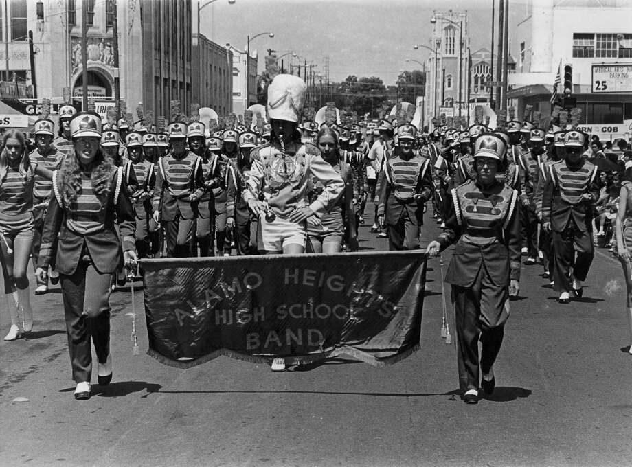 Battle of Flowers 1973: The Alamo Heights High School band marches in the parade. Photo: San Antonio Express-News File Photo