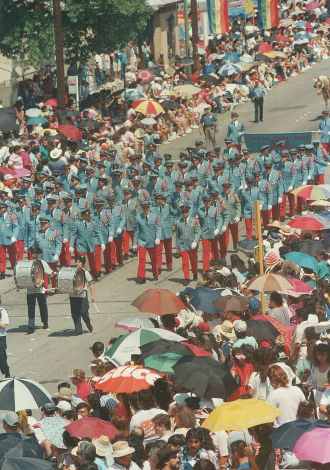 Battle of Flowers 1989: The Texas Cavaliers march in the parade. Photo: San Antonio Express-News File Photo