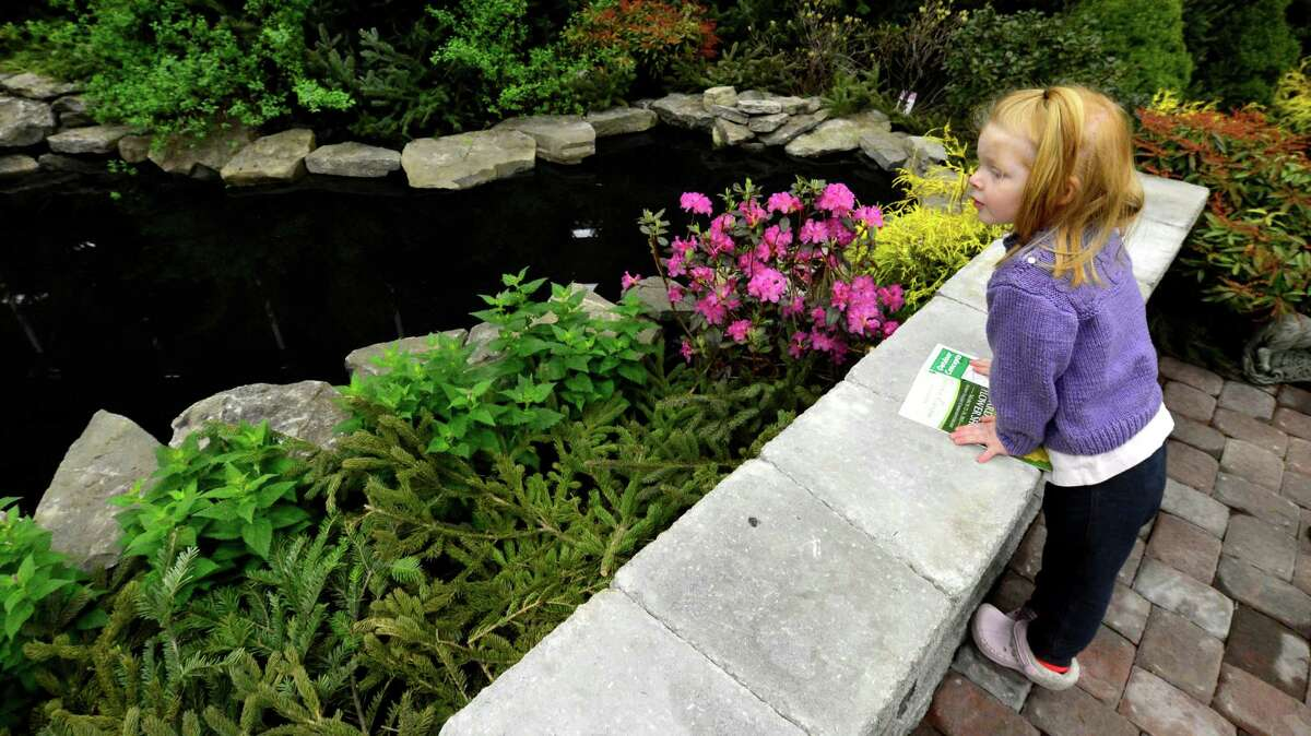 Zinnia Benjamin 2 1/2 of Scotia looks over one of the floral and water displays March 22, 2013, at the Capital District Garden & Flower Show at the McDonough Sport Complex in Troy, N.Y. The show continues through Sunday. (Skip Dickstein/Times Union)