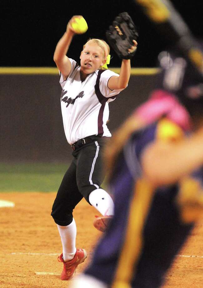 Magnolia pitcher Cori Cooper sets to throw against a Montgomery hitter. Photo: David Hopper, Freelance / freelance
