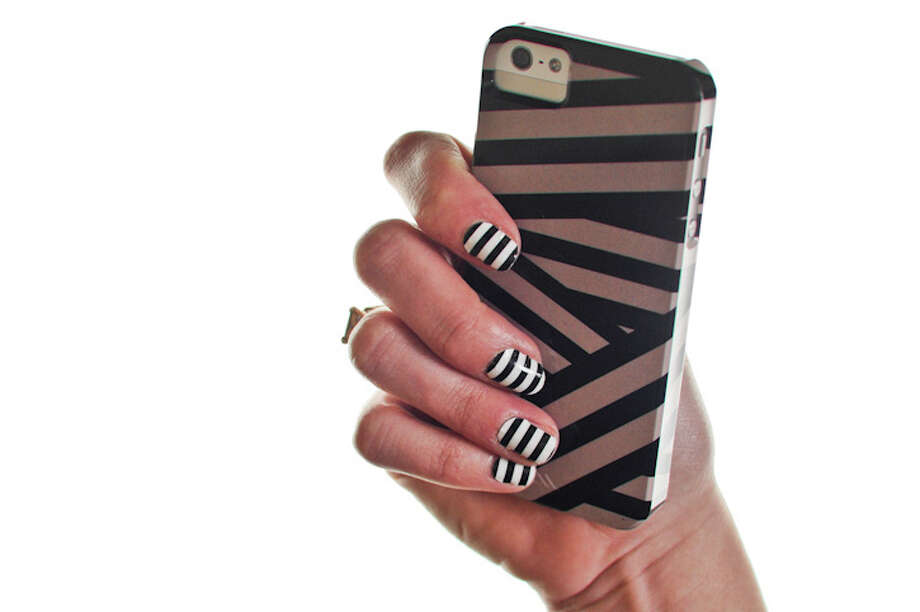 These black and white nails evoke the Marc Jacobs Spring 2013 runway. Click through for our tutorial. (Society6 iPhone case.)