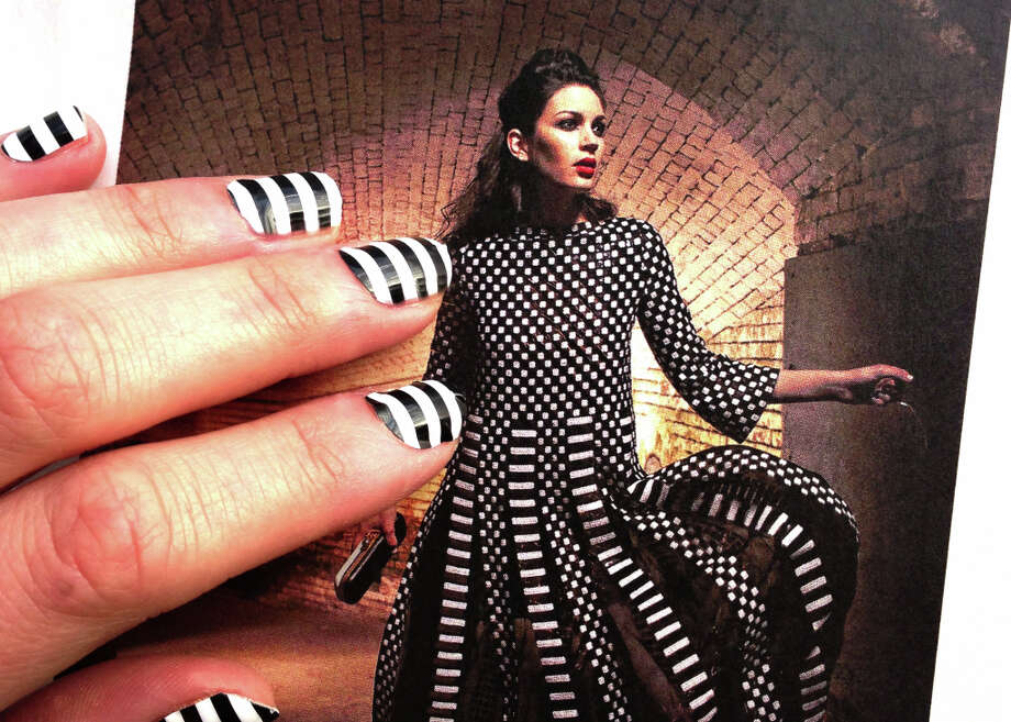 Our black and white striped nails were inspired by Marc Jacobs' Spring 2013 runway looks, as photographed by Russell Yip for the San Francisco Chronicle's Women's Spring Fashion Issue. (Dress at Maiden Lane, S.F.)