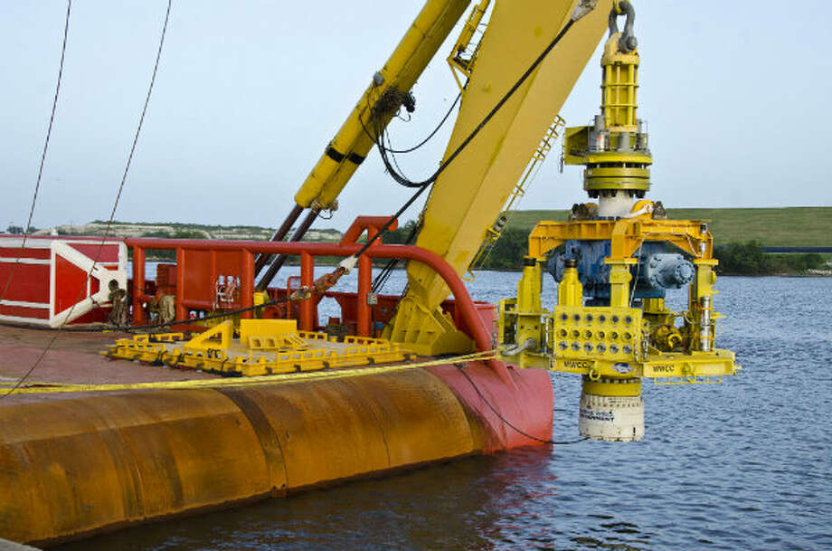 After the MWCC capping stack was lowered onto the Laney Chouest, a simulated deployment was performed, using the A-frame to lower the capping stack just above the water.