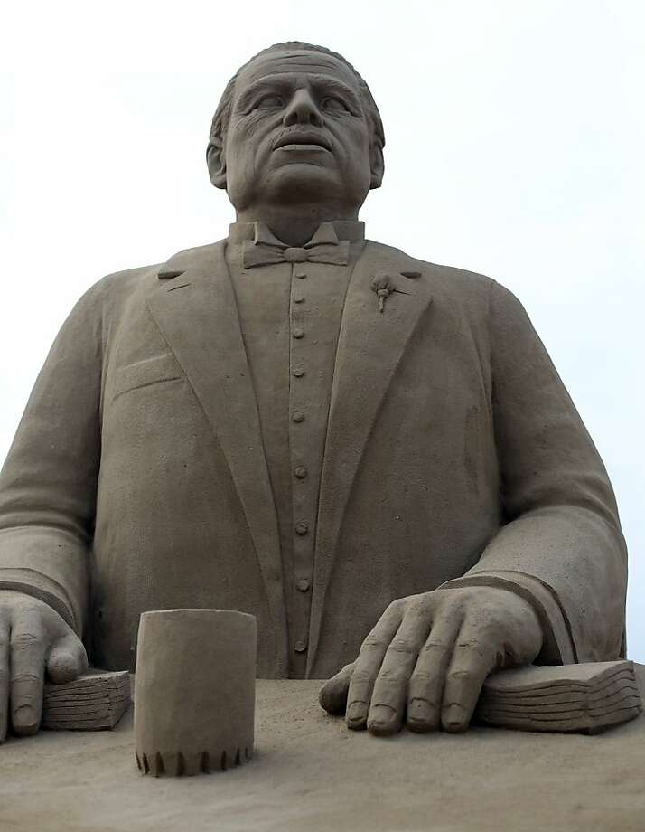 A Don Corleone sand sculpture was an offer the festival couldn't refuse. Photo: Matt Cardy, Getty Images