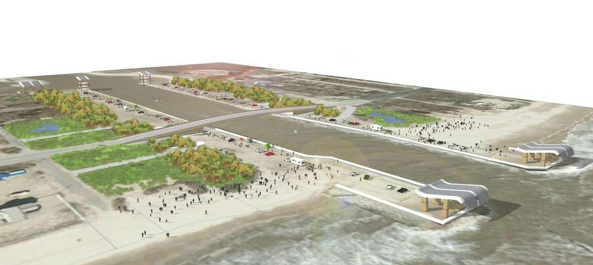 Artist's rendering of Rollover Pass on Bolivar Peninsula