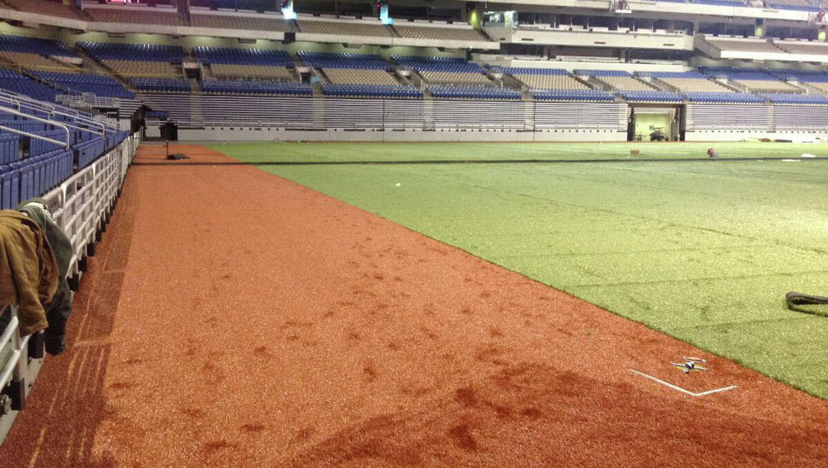 The Alamodome is reconfigured in preparation for the Texas Rangers' two exhibition games against the San Diego Padres.