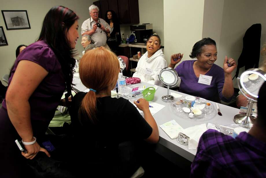 Vanessa Cooper celebrates at the possibility of more makeup classes at Department of Assistive and Rehabilitative Services. Photo: Mayra Beltran, Houston Chronicle / © 2013 Houston Chronicle