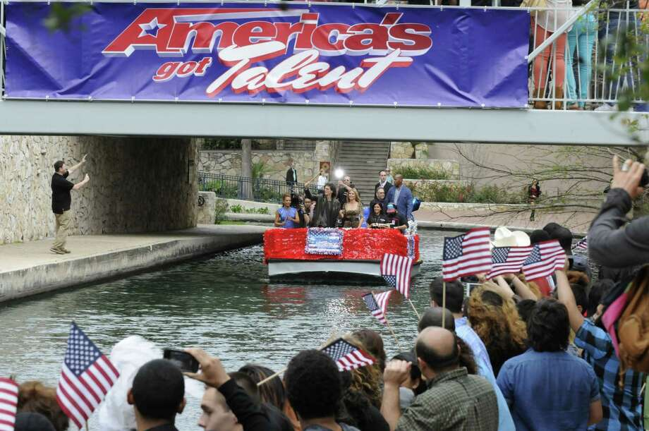 "Judges from ""America's Got Talent""  enthusiastically greeted crowds from a San Antonio River barge. Photo: NBC"
