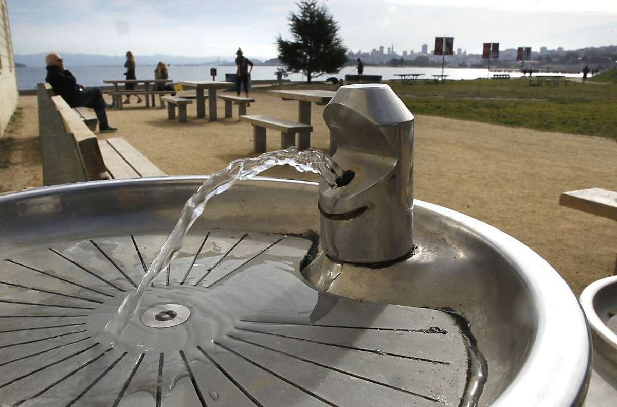 A drinking fountain near the Warming Hut at Crissy Field on Tuesday March 26, 2013, in San Francisco, Ca., as the group Corporate Accountability International is asking to stop the sale of plastic water bottles inside the Recreation Area. Members of the San Francisco Board of Supervisors along with the group Corporate Accountability International are behind a campaign to get the Golden Gate National Recreation Area and Yosemite National Park to stop selling bottled water and switch to water refill stations and drinking fountains.