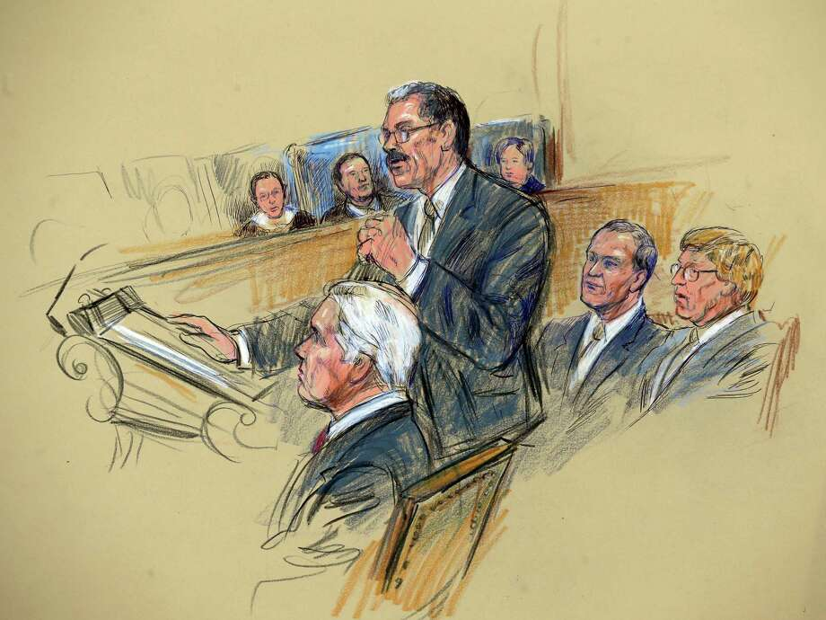 This artist rendering shows Solicitor General Donald B. Verrilli Jr., center, addressing the Supreme Court in Washington, Tuesday, March 26, 2013, as the court heard arguments on California's ban on same-sex marriage. Seated, from left are, attorneys Charles J. Cooper, David Boies, and Theodore Olsen, who represented the plaintiffs. Photo: Dana Verkouteren