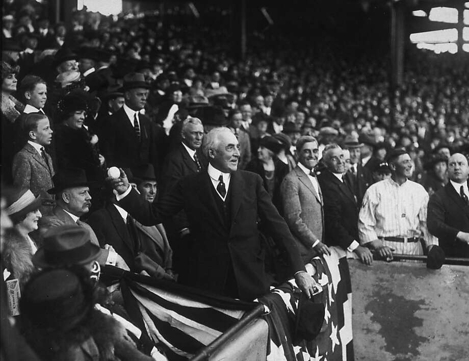 President Warren G. Harding throws out the first ball of the baseball season on April 12, 1922 in Washington DC. Photo: Hulton Archive, Getty Images