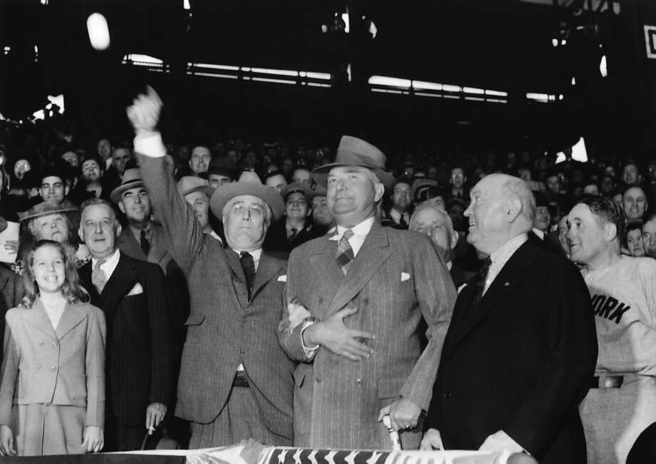President Franklin Roosevelt opens baseball season at Griffith Stadium in Washington in April 1941. Photo: Keystone-France/Gamma-Keystone, Getty Images