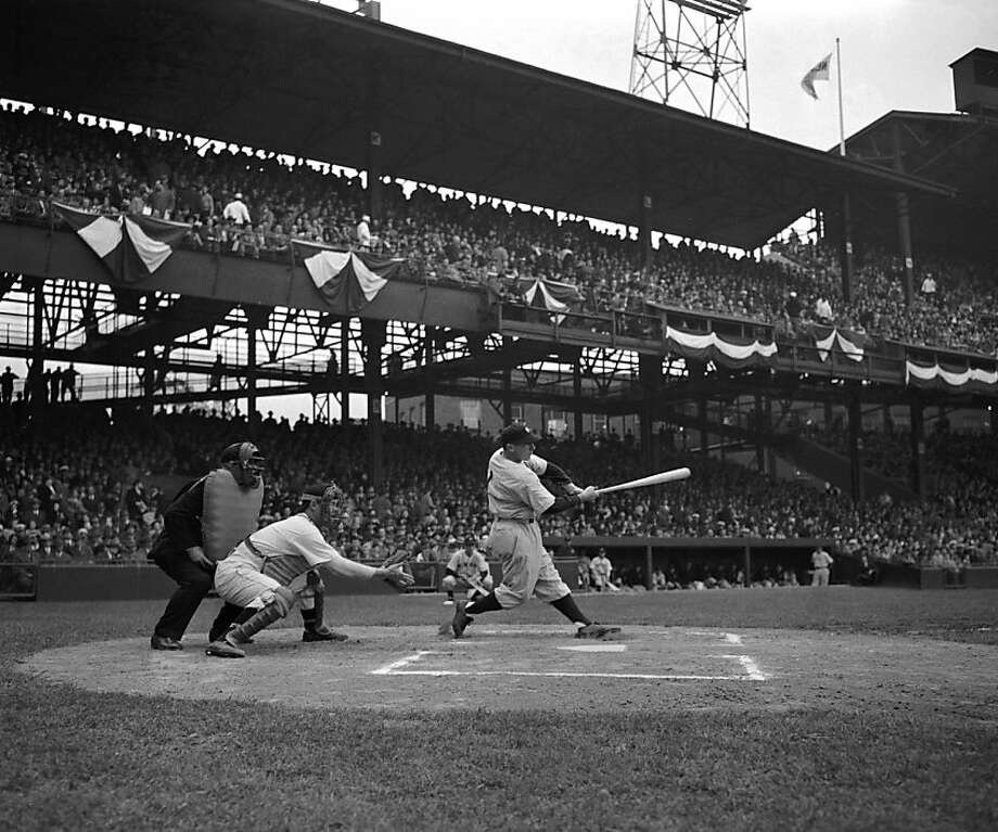 Infielder George Stirnweiss of the New York Yankees swings at a pitch as he leads off the Opening Day game on April 20, 1945 against the Washington Nationals at Griffith Stadium in Washington, DC. Photo: Diamond Images, Getty Images