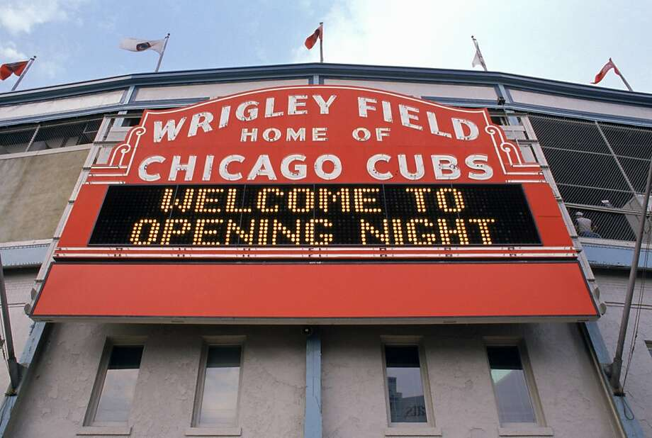 Exterior view of Wrigley Field's marquee welcoming fans for the 1989 Opening Day game between the Chicago Cubs and the Philadelphia Phillies. Photo: Jonathan Daniel, Getty Images