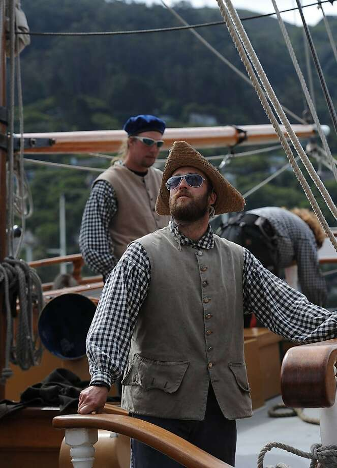 Deckhand Educator Johann Steinke is seen as the tall ship Hawaiian Chieftain sets out in Sausalito on March 26, 2013. The ship, along with the Lady Washington will be here until April 2, 2013 Photo: Susana Bates, Special To The Chronicle