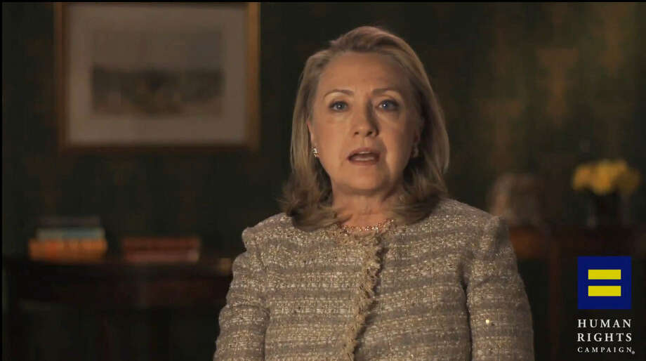 This video frame grab shows former Secretary of State Hillary Rodham Clinton announcing her support for gay marriage. But will she run? Photo: Associated Press