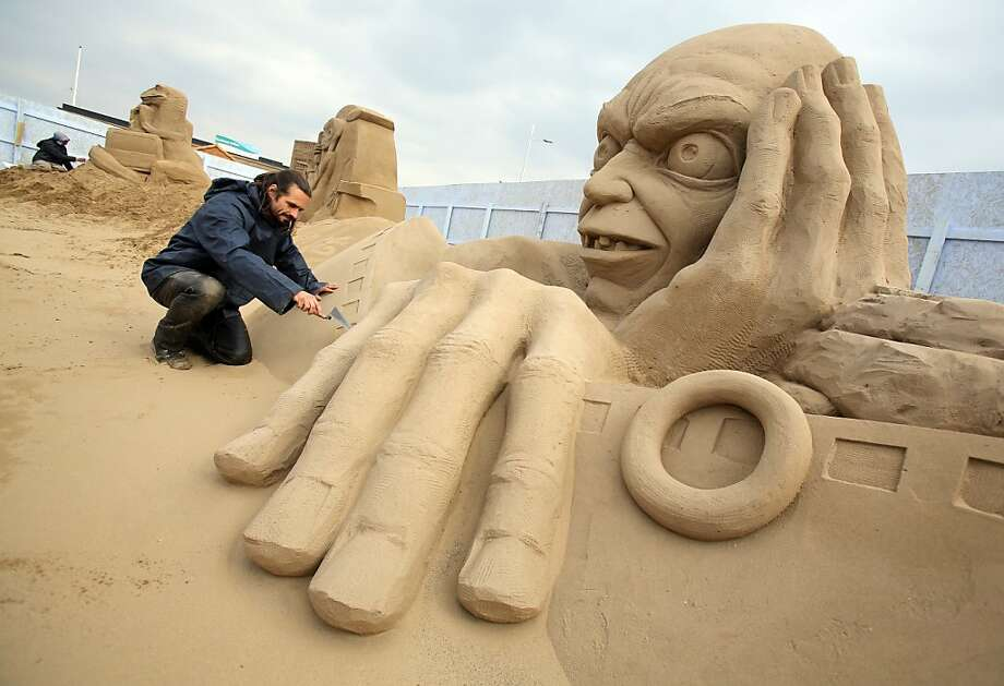 As portrayed by sculptor Radavan Zivny, Gollum is all head and hands. Photo: Matt Cardy, Getty Images