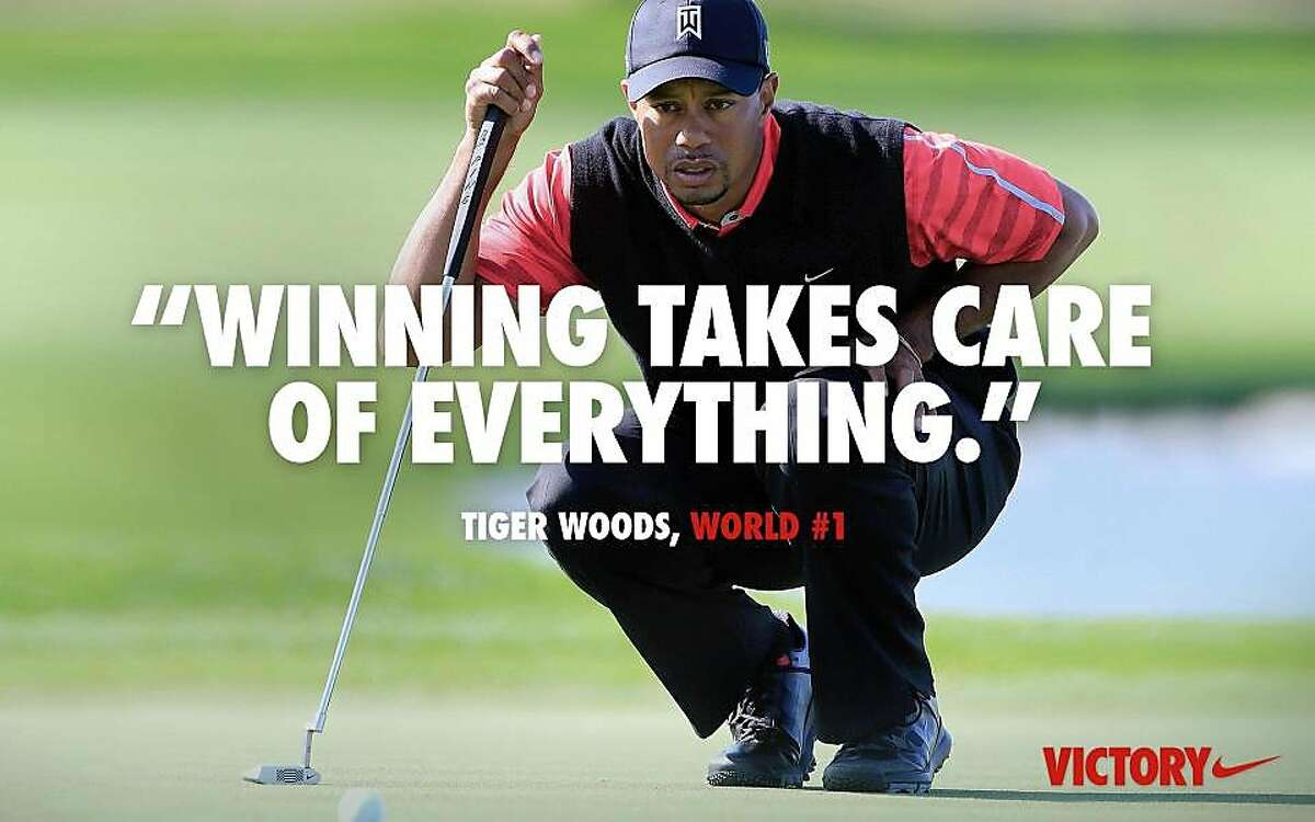 """Nike is causing a social media storm with its latest online ad, seen here, showing a picture of Tiger Woods overlaid with a quote from him, """"Winning takes care of everything."""" Woods has used the phrase with reporters since at least 2009 when they ask him about rankings. The ad, posted on Facebook and Twitter, is supposed to allude to the fact that the golfer recovered from career stumbles to regain his world No. 1 ranking on Monday, which he lost in October 2010. But some say it's inappropriate in light of Woods' past marital woes. (AP Photo/Nike)"""
