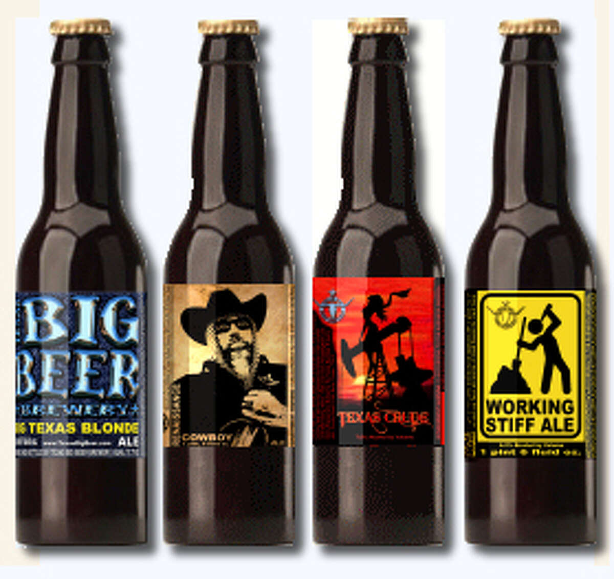 A selection of beers from John and Tammy McKissack's Texas Big Beer Brewery.