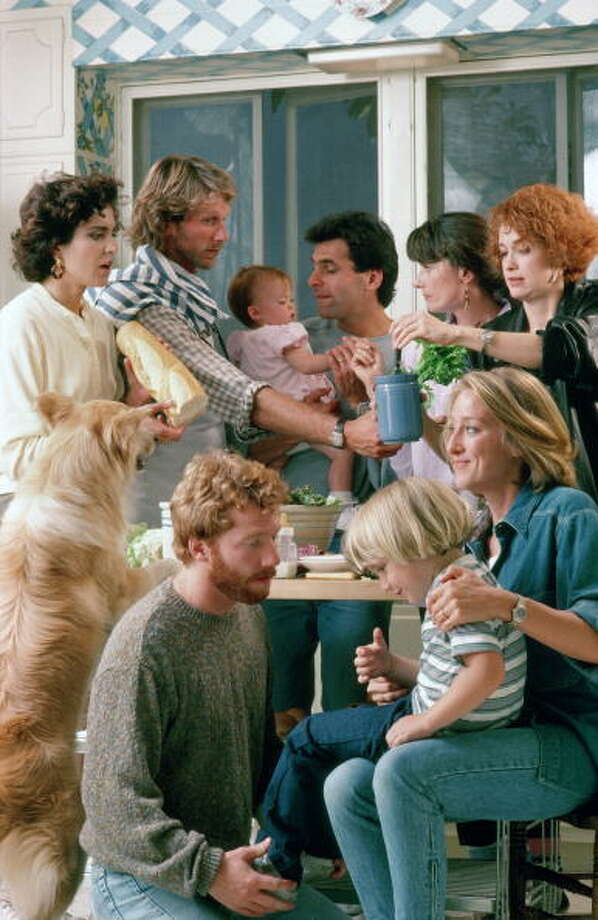 "With 10,000 Baby Boomers reaching retirement age every day (see the story below), we thought we'd take a look at possibly the quintessential television series to explore that generation in midlife: ""Thirtysomething.""For those of you who may not remember the series, here's the synopsis: Thirtysomething is the story of seven upwardly mobile friends, all in their thirties and living in Philadelphia, whose relationships are traced on the series. Pictured, from top left: Polly Draper (as Ellyn Warren), Peter Horton (as Gary Shepherd), Brittany/Lacey Craven (Janey), Ken Olin (as Michael Steadman), Mel Harris (as Hope Steadman), Melanie Mayron (as Melissa Steadman); bottom: Timothy Busfield (as Elliot Weston), Luke Rossi (as Ethan Weston), Patricia Wettig (as Nancy Weston), Photo: ABC Photo Archives, ABC Via Getty Images / American Broadcasting Companies, Inc."