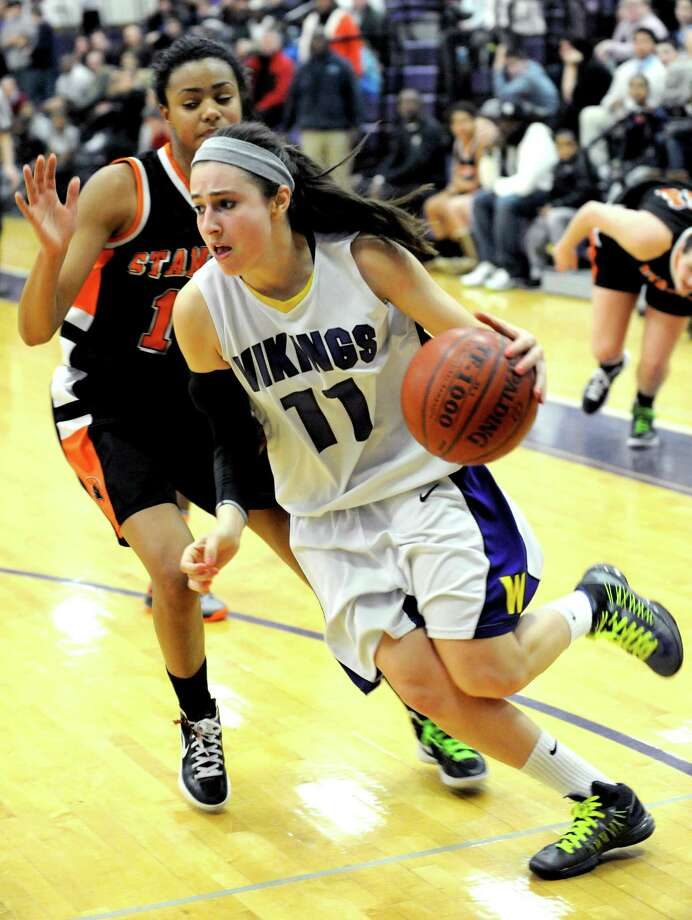 Meg D'Alessandro, Westhill --Senior 5-foot-7 guard/forward was one of the league's best scorers, with the combination of 3-point shooting and ability to get to the rim and draw contact, leading to plenty of 20-point nights. ¦ Led the Vikings with 21.0 points (first in FCIAC), 7 rebounds, 2 assists, 2.5 steals per game. ... 85 percent foul shooter. ¦ Led Vikings to 18-5 record (including postseason) that included a 14-game winning streak and the first FCIAC playoff berth for the school since 2007-08. ¦Two-time first team All-FCIAC. Photo: Lindsay Perry / Stamford Advocate