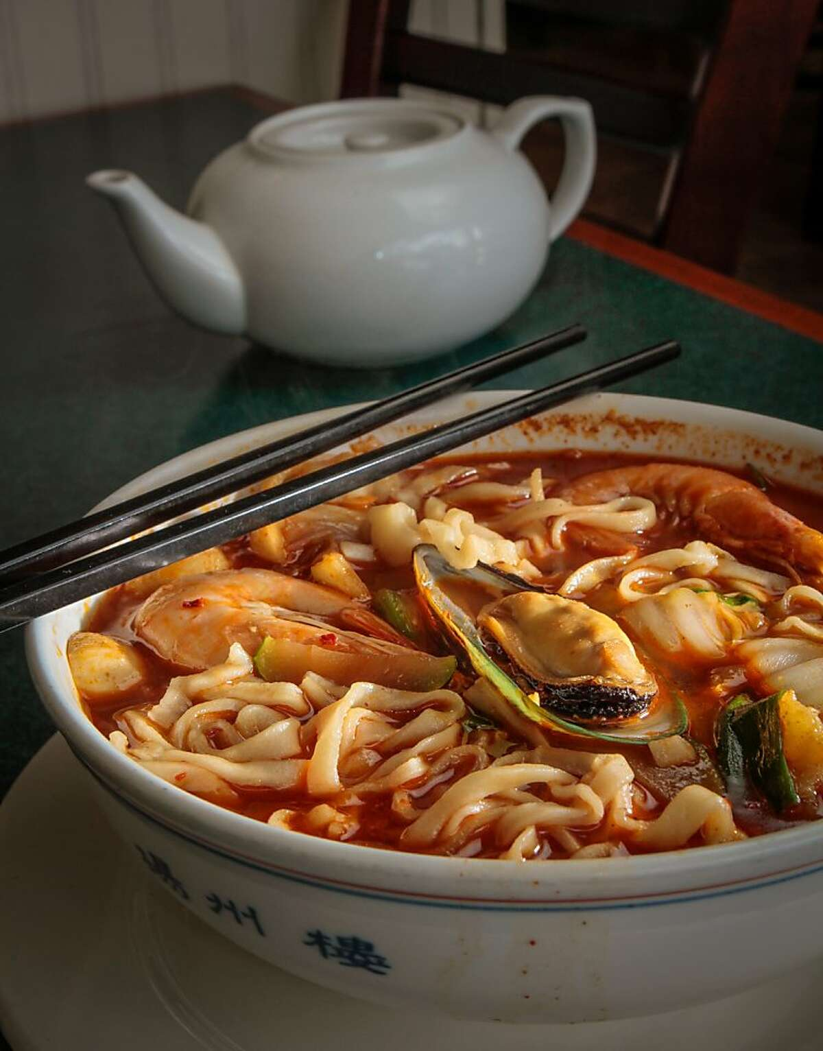 The Seafood Noodle Soup at Shanghai Winter Garden in Millbrae, Calif., is seen on Monday, March 25th, 2013.