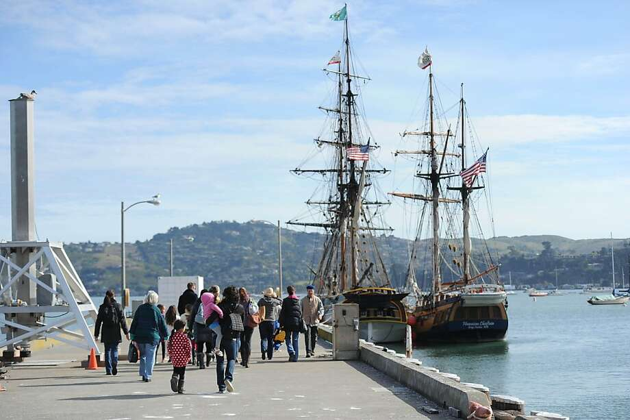 Marin Homeschoolers head out to the tall ships Lady Washington and Hawaiian Chieftain that are docked near the Bay Model Visitors Center in Sausalito on March 26, 2013. The ships will be here until April 2, 2013. Photo: Susana Bates, Special To The Chronicle