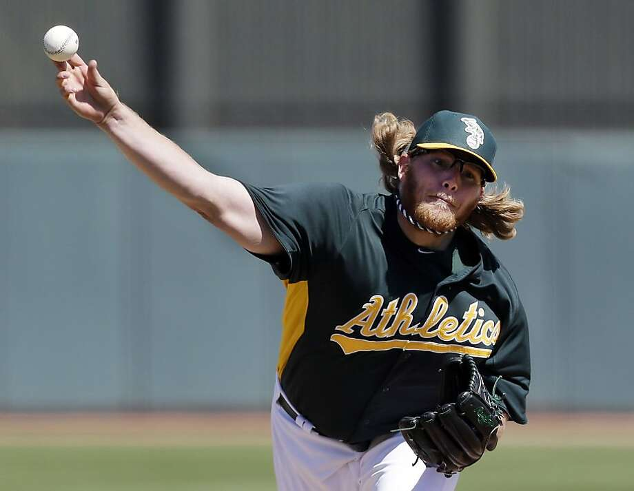 Oakland Athletics starting pitcher A.J. Griffin throws to the Seattle Mariners during the first inning of an exhibition spring training baseball game on Monday, March 18, 2013 in Phoenix. (AP Photo/Marcio Jose Sanchez) Photo: Marcio Jose Sanchez, Associated Press