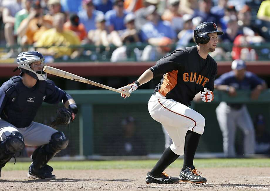 San Francisco Giants' Brandon Belt in action against the San Diego Padres during an exhibition spring training baseball game on Tuesday, March 26, 2013 in Scottsdale, Ariz. (AP Photo/Marcio Jose Sanchez) Photo: Marcio Jose Sanchez, Associated Press