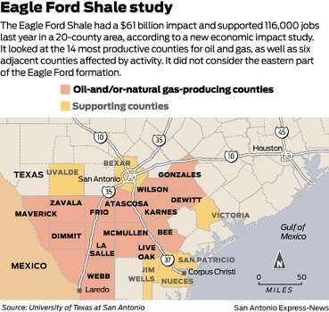 The Eagle Ford Shale had a $61 billion impact and supported 116,000 jobs last year in a 20-county area, according to a new economic impact study. It looked at the 14 most productive counties for oil and gas, as well as six adjacent counties affected by activity. It did not consider the eastern part of the Eagle Ford formation. Photo: Mike Fisher