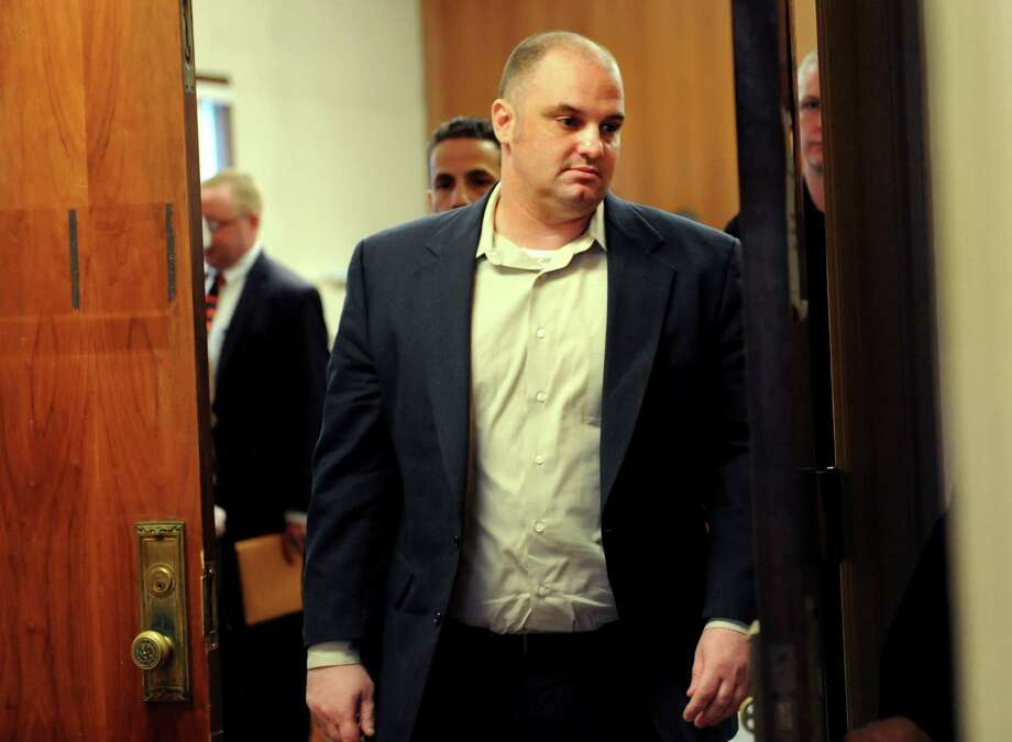 Anthony Gallo leaves the courtroom during a break in the opening statements on Tuesday, March 26, 2013, at the Schenectady County Courthouse in Schenectady, N.Y. Gallo is charged with vehicular manslaughter and DWI for hitting and killing a pedestrian on Erie Boulevard. (Cindy Schultz / Times Union) Photo: Cindy Schultz / 00021732A