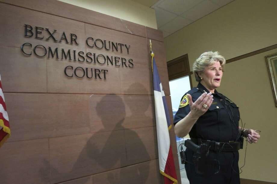 Sheriff Susan Pamerleau answers media questions about her report to Commissioners Court on staffing at the jail. Photo: John W. Gonzalez / San Antonio Express-News