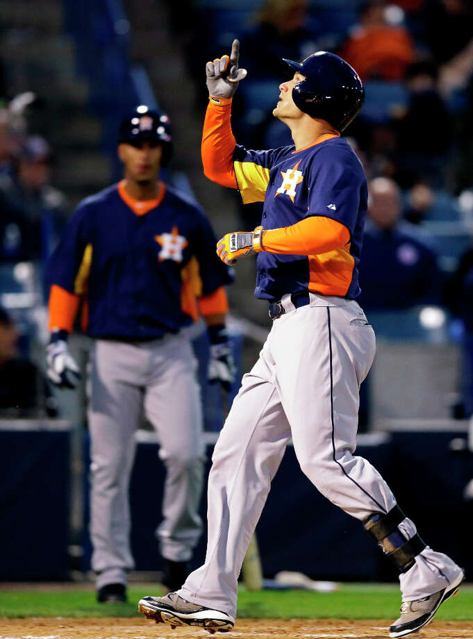 March 26: Astros 4, Yankees 4Brandon Barnes of the Astros points skyward after hitting a solo home run in the fourth inning. Photo: Kathy Willens