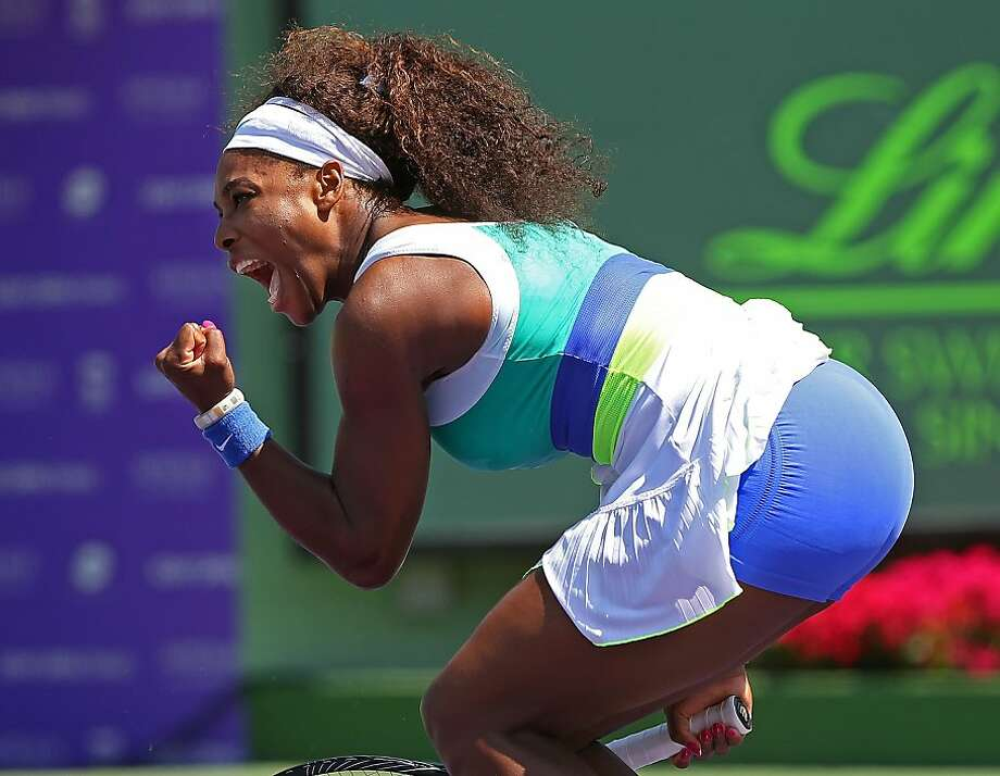 KEY BISCAYNE, FL - MARCH 26:  Serena Williams reacts after winning a match against Li Na of China during Day 9 of the Sony Open at Crandon Park Tennis Center on March 26, 2013 in Key Biscayne, Florida.  (Photo by Mike Ehrmann/Getty Images) Photo: Mike Ehrmann, Getty Images