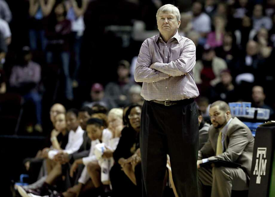 Texas A&M coach Gary Blair watches the final seconds of his team's second-round NCAA tournament loss to Nebraska on Monday. The Aggies went 25-10 and won the Southeastern Conference tourney this season. Photo: Pat Sullivan / Associated Press
