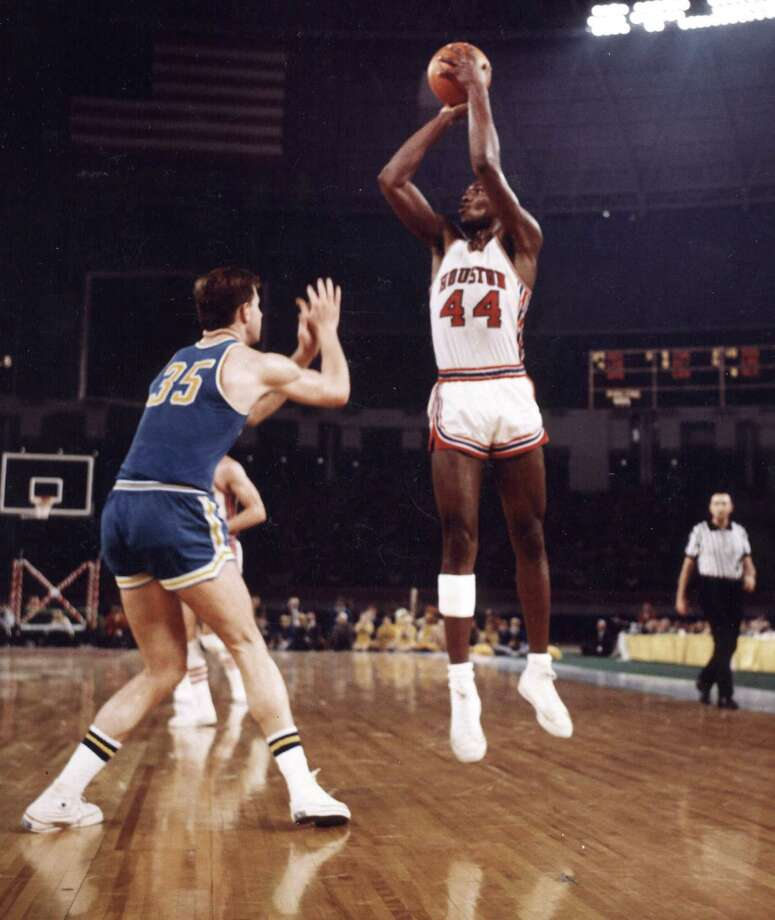 3. 1968 Houston: Elvin Hayes attempts a jump shot against the UCLA Bruins at the Astrodome in Houston on Jan. 20, 1968. The Cougars won 71-69. Photo: WireImage / WireImage
