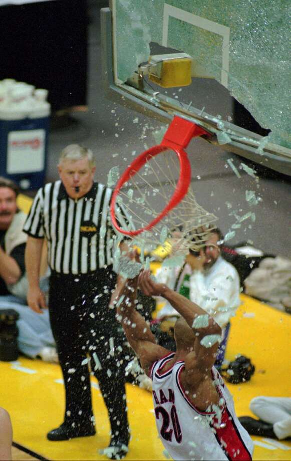 8. 1996 Texas Tech: The Red Raiders pummeled North Carolina in the second round of the NCAA tournament in a game punctuated by a backboard-breaking dunk by Darvin Ham that remains one of the most iconic athletic moments in school history. Photo: Associated Press File Photo / AP1996