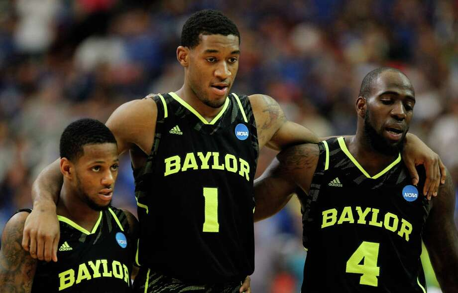 9. 2012 Baylor: Pierre Jackson (from left), Perry Jones III and Quincy Acy react in the second half against Kentucky during the South Regional Final at the Georgia Dome on March 25, 2012 in Atlanta. Photo: Streeter Lecka, Getty Images / 2012 Getty Images