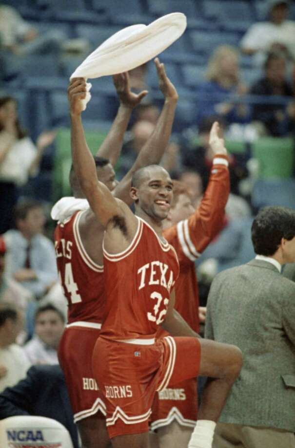 11. 1990 Texas: Lance Blanks waves a towel in celebration during the final seconds of Texas' 102-89 victory over Xavier in the NCAA Midwest Regionals in Dallas, March 23, 1990. Photo: Associated Press File Photo / AP1990