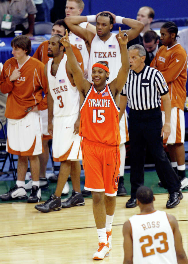 7. 2003 Texas: Syracuse's Carmelo Anthony celebrates near the Texas bench in the closing moments of the Orangemen's 95-84 win over the Longhorns in the semifinals of the Final Four on April 5, 2003, in New Orleans. Photo: Associated Press File Photo / AP2003