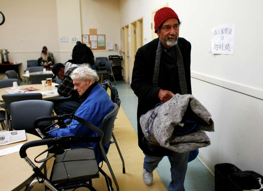 Jeffry Moore, 63, leaves the Curry Senior Center, after his morning coffee. Moore said he is in the seventh month of his latest stint on the streets. This time around I'm managing my substances instead of it managing me, he said. Photo: Lacy Atkins, The Chronicle / ONLINE_YES