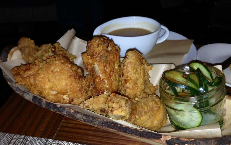 Fried chicken with pickles and grave at Rye, Leawood, Kansas
