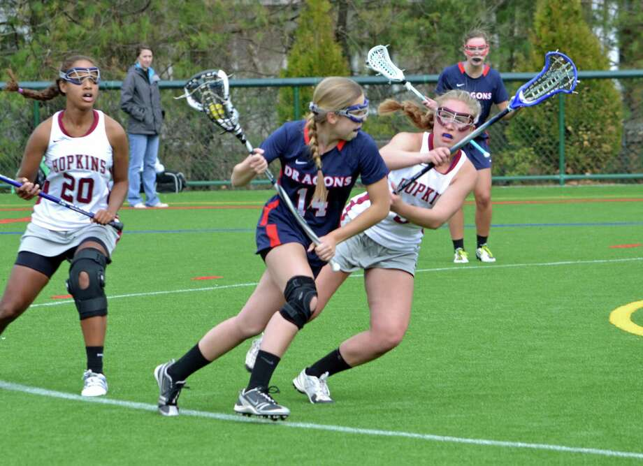 Sophomore Campbell Goldsmith, middle, is one of the key returnees for Greens Farms Academy's girls lacrosse team, which went 17-3 last season. Photo: Contributed Photo / Norwalk Citizen