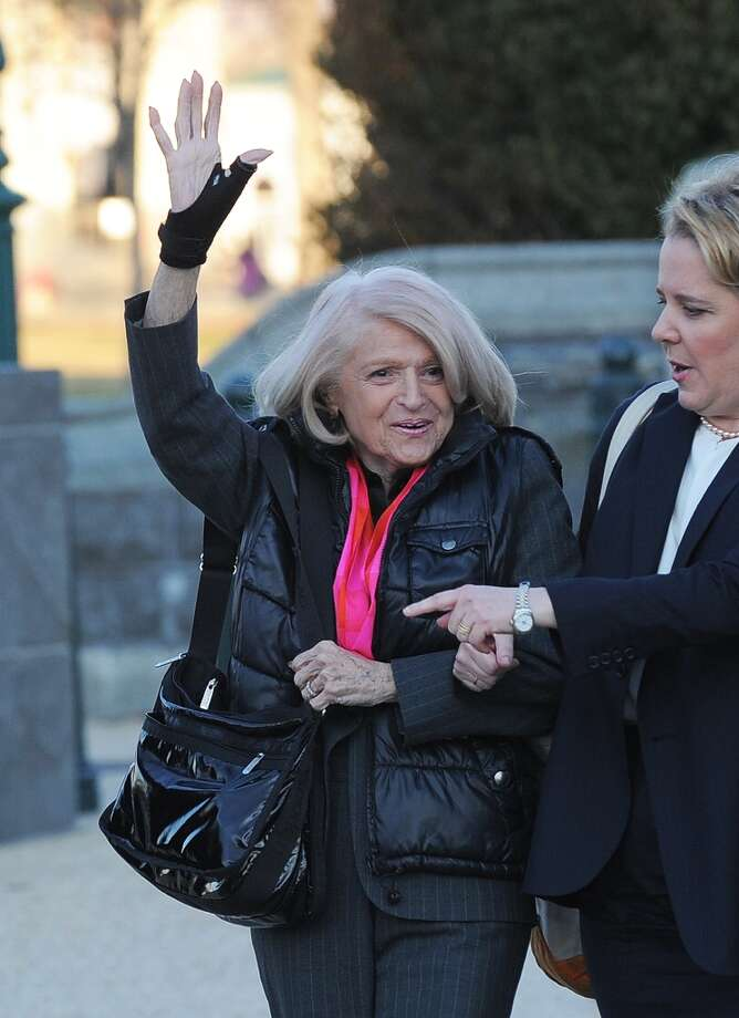 Plaintiff Edie Windsor (C), an 83-year-old lesbian who was ordered to pay federal inheritance tax of $363,000 following the death of her partner of more than 40 years in 2009, arrives at the Supreme Court on March 27, 2013 in Washington, DC, for the US v. Windsor case challenging the constitutionality of Section 3 of the Defense of Marriage Act (DOMA). The rights of married same-sex couples will come under scrutiny at the US Supreme Court on Wednesday in the second of two landmark cases being considered by the top judicial panel. After the nine justices mulled arguments on a California law that outlawed gay marriage on Tuesday, they will take up a challenge to the legality of the Defense of Marriage Act (DOMA). The 1996 law prevents couples who have tied the knot in nine states -- where same-sex marriage is legal -- from enjoying the same federal rights as heterosexual couples. AFP PHOTO/Jewel SamadJEWEL SAMAD/AFP/Getty Images Photo: JEWEL SAMAD, AFP/Getty Images / AFP