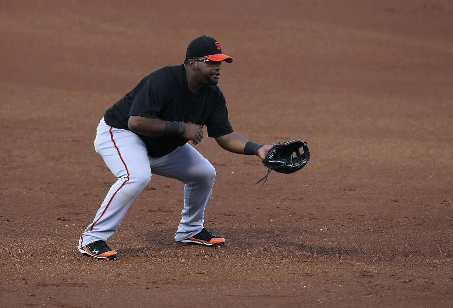 Infielder Pablo Sandoval in action during the MLB spring training game against the Texas Rangers at Surprise Stadium on March 15, 2010 in Surprise, Arizona. Photo: Christian Petersen, Getty Images / Getty Images North America