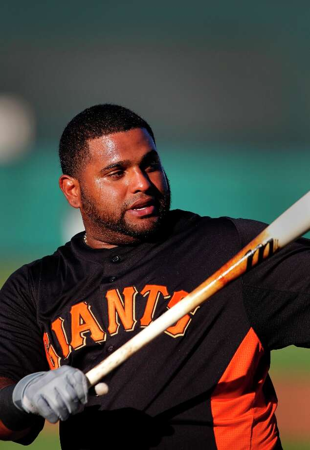 Giants' Pablo Sandoval takes batting practice during pre-game workouts on Tuesday Mar. 12, 2013. Photo: Michael Macor, The Chronicle / ONLINE_YES